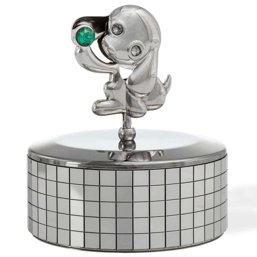 Chrome Plated Silver Puppy Music Box