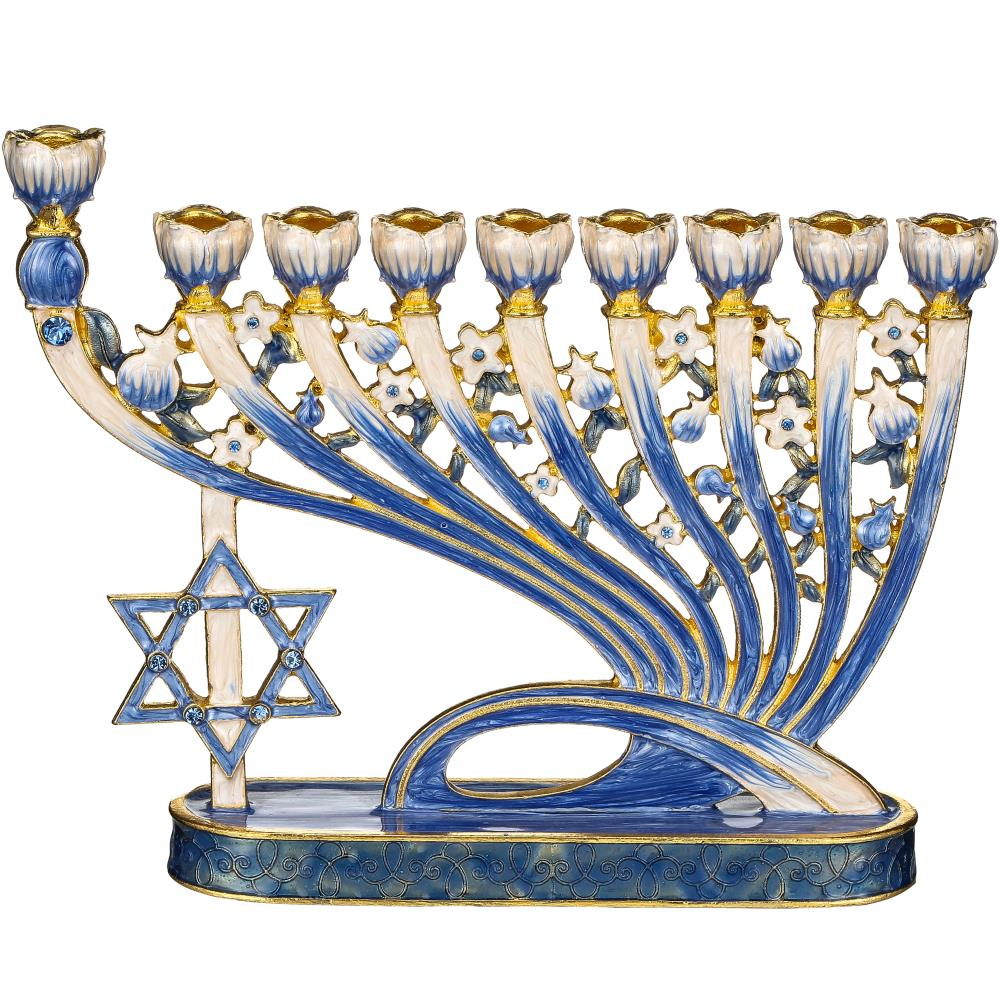 Modern Flow /& Star of David Design Matashi Hand Painted Enamel Menorah Candelabra Embellished with Gold Accents and Crystals