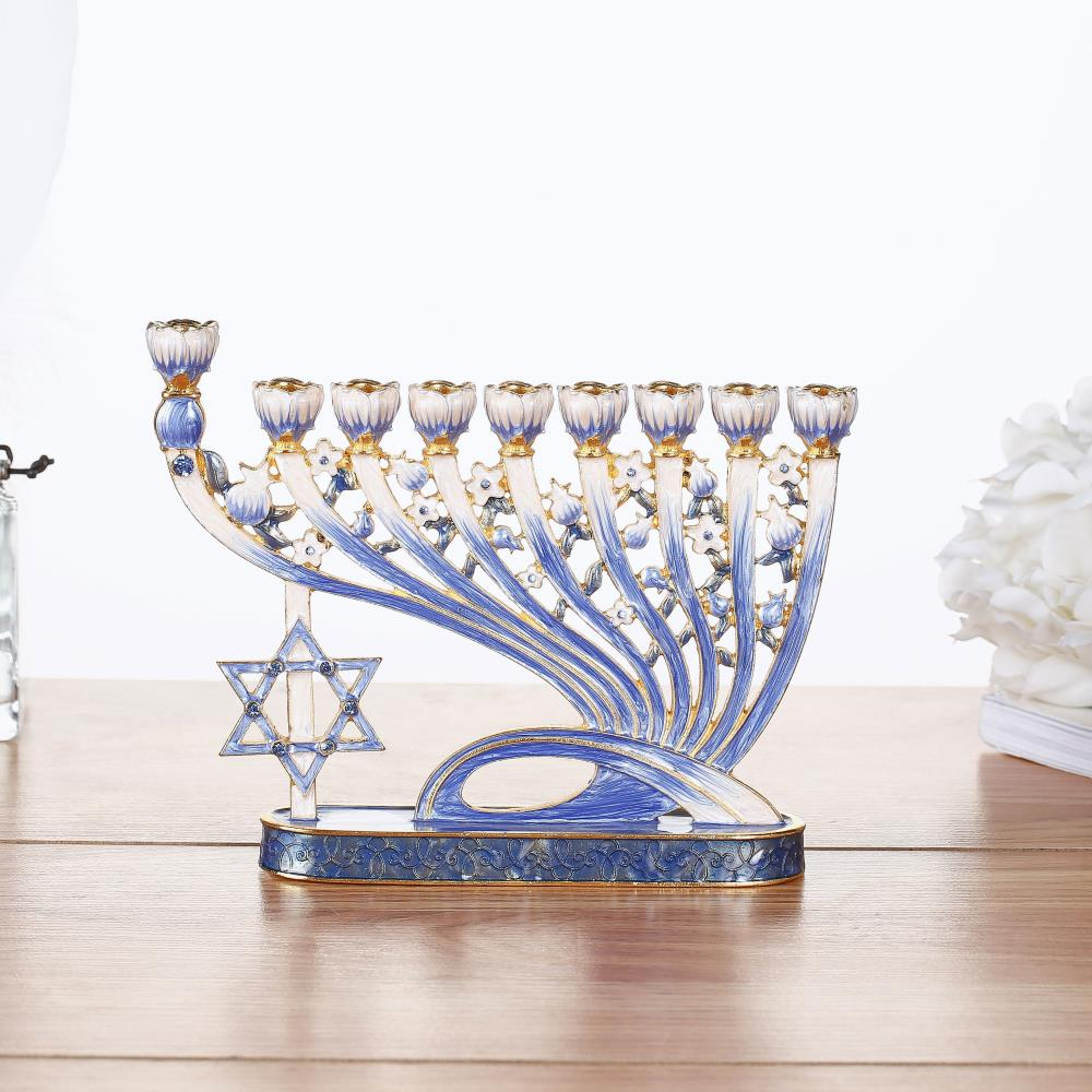 Classic Blue Hand Painted Enamel Menorah Candelabra Embellished with Gold Accents and Crystals by Matashi